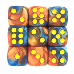 (Orange+Blue) 12mm D6 pips dice