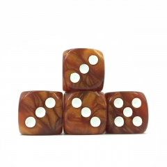 (Brown Pearl )16mm D6 Pips dice