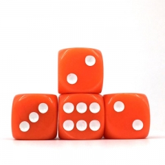 (Orange Opaque)16mm D6 Pips dice