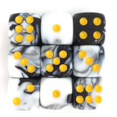 (White+Black) 12mm D6 pips dice