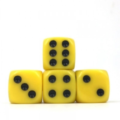 (Yellow Opaque) 16mm D6 Pips dice