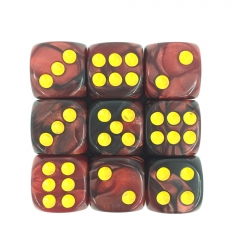 (Dark Red+Black) 12mm D6 pips dice