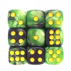 (Grass Green+Black) 12mm D6 pips dice