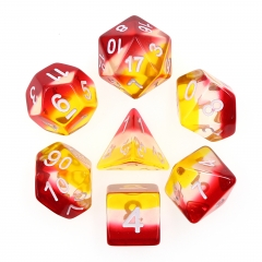 7 Pcs (Red+White+Yellow) Transparent Dice