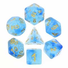 Transparent Blue Glitter Dice