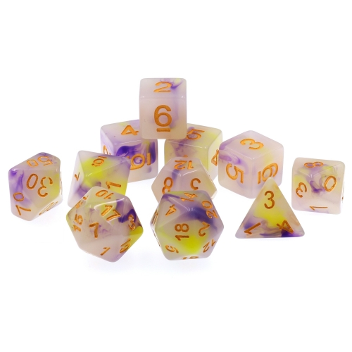11 pcs (Yellow+Purple) Jade Dice Set