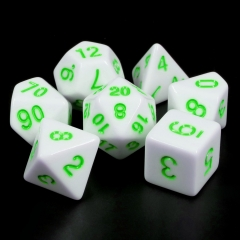 White Opaque dice(Green font)