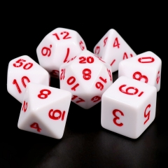White Opaque dice(Red font)