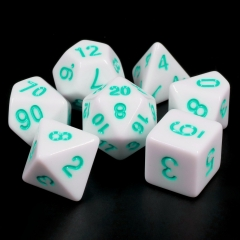 White Opaque dice(Teal font)