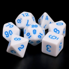 White Opaque dice(Blue font)