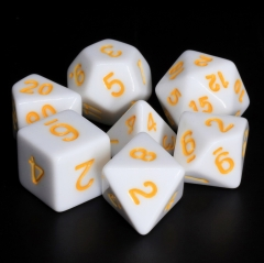 White Opaque dice(Yellow font)